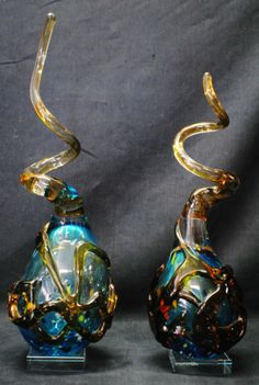 Pair of Murano art glass sculptures