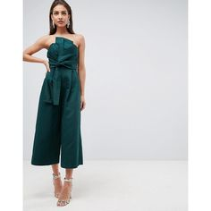 ASOS Jumpsuit in Structured Fabric with Knot Front and Drape Detail (825 SEK) ❤ liked on Polyvore featuring jumpsuits and green