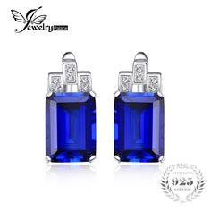 JewelryPalace 11ct Luxury Ocean Blue Sapphire Clip Earrings 925 Sterling Silver Earrings Fine Jewelry Fashion Jewelry for Women