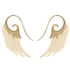 Fly Me to the Moon Mammoth Bone Diamond Gold Wing Earrings 1