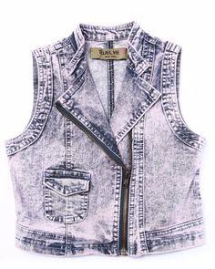 Cotton Candy Acid Wash Denim Vest