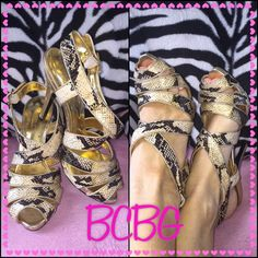"""BCBG Snazzy BCBG snake design 4.75"""" beauties, even though I only wore these to posh model they were packed without box in moving so the heel has been scuffed, price is set accordingly even though brand new. Doesn't even notice wearing them! A steal! BCBG Shoes Heels"""