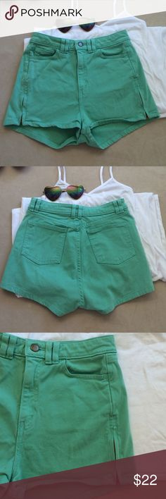 """Green high waisted shorts. New high waisted shorts by American Appearal in mint green. Soft stretch cotton and side zippers. 13"""" across waist. 11"""" front rise.  1.6"""" inseam. 11"""" long. New condition. No flaws. Size 26/27.  The shorts are a tad lighter in person. American Apparel Shorts"""