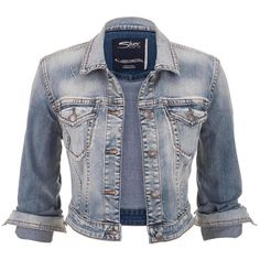 Silver Jeans Silver Jeans ® Light Wash Cropped Denim Jacket found on Polyvore featuring polyvore, fashion, clothing, outerwear, jackets, tops, coats & jackets, light sandblast, silver jacket and long jacket