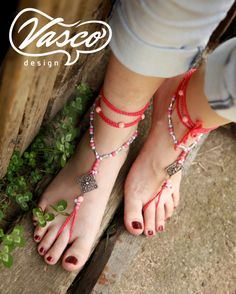 Pink boho barefoot sandals, gypsy, crochet barefoot sandals, yoga, anklet hippie shoes on Etsy, $25.00