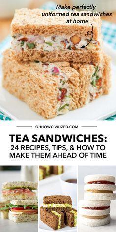 Tea Party Sandwiches Recipes, High Tea Sandwiches, English Tea Sandwiches, Appetizer Sandwiches, Sandwiches For Parties, Tea Party Recipes, Cucumber Sandwiches, Finger Sandwiches, Appetizer Recipes