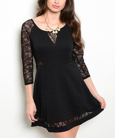 Black Lace Embossed A-Line Dress by 24|7 Frenzy #zulily #zulilyfinds