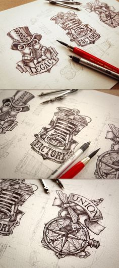 Here we have the work of Mike, a one man design studio called Creative Mints. Loving the concept sketches, never mind the finished illustrations! Logo Inspiration, Daily Inspiration, Steampunk Kunst, Steampunk Drawing, Simple Compass, Logo Sketches, Art Et Illustration, Best Logo Design, Logo Concept