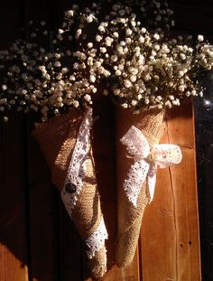 hessian pew ends/wedding decs  what about burlap and lace cones