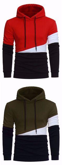 Drawstring Color Block Panel Fleece Pullover Hoodie - Fleece Shirt -ideas of Fleece Shirt - Drawstring Color Block Panel Fleece Pullover Hoodie Moda Men, Fleece Pullover, Cool Hoodies, Stylish Hoodies, Men's Hoodies, Mens Fashion Suits, Stylish Men, Mens Sweatshirts, Pulls