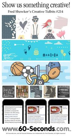 Fred Showker's Creative Tidbits #214 comes with #free #vector files, some iPhone stuff, sports icons, #patterns and fun!  Follow along #icons #freefonts
