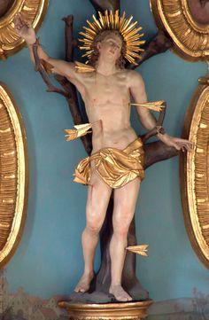 Anonyme, Hl.Sebastian, Sebastiansfigur vom Hauptaltar, Kirche St.Sebastian, Gemeinde Bad Aibling, Bavaria, Duitsland