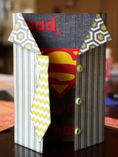 Kaminski's Creations: A Super Hero Father's Day Card  Great idea for gate fold cards, I always wonder what to do with them...