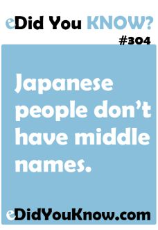 Did You Know? #304  eDid You Know?  Japanese people don't have middle ...Countries and Places
