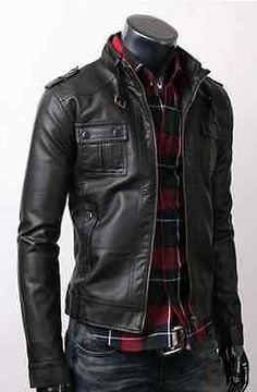 Fine Quality Strap Pocket Slim Fit Men Leather Jacket Black in Clothes, Shoes & Accessories, Men's Clothing, Coats & Jackets | eBay!