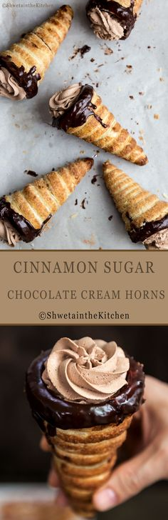 Cinnamon Sugar Chocolate Cream Horns is an easy dessert or snack recipe made using Pepperidge Farm® Puff Pastry. This pastry is delicious and decadent with the outside coated with cinnamon sugar and inside layered with chocolate ganache and then filled with chocolate whipped cream. YUM!!!!! @puffpastry #ad #inspiredbypuff