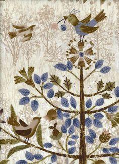 Taupe árbol de pájaros Panel de Yoko Saito japonés de algodón acolchado de tela por el grupo LEC31474-10