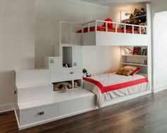 Cool White Wooden Loft Bed Design With Creative Storage Stair Underneath Plus Overhead Wall Shelf Ideas