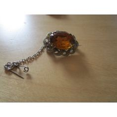 "New Listing Started vintage silvertone brooch with oval amber stone marcasite effect stones 1.25"" £2.50"