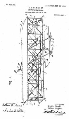 WRIGHT AIRCRAFT PATENT PAPERWORK FOR THE WRIGHT FLYING MACHINE