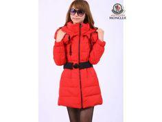 sale Moncler Damen Classic Long Down Coats rot sale online Parka Damen,  Moncler, Fur 784494af2e