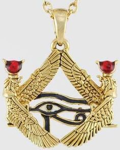 "Isis Framed Eye of Horus necklace Two powerful symbols of the Egyptian Gods combine to create this pendant, with mirrored symbols of Isis creating a pyramid which contains the Eye of Horus. Has chain. 1"" x 1 1/8""  https://shadowsofthemoon.net   #Wiccan #Wicca #ilovemywitchyways #Book #altar #witchy #Pagan #witchcraft #shadowsofthemoondotnet #shadowsofthemoon"