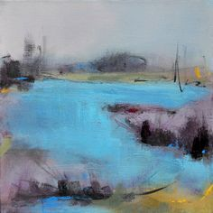On a Calm Afternoon 12x12 Contemporary Abstract Landscape by Jacquie Gouveia, $110.00