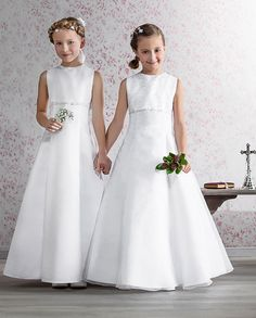 Princess A - line Communion Dress - Emmerling 70135 - Emmerling First Communion Dress - Sequins and Flowers with Sparkle - Girls Communion Dress Shop
