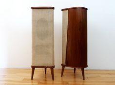 Mid Century Grundig Teak Tripod Floor Speakers by PopBam on Etsy, $265.00