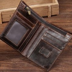 39f242453 Men Genuine Leather Wallet Vintage Wallets With Coin Purse and Card Holder  Euro 12,40