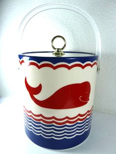 Red, White and Blue Cera Whale Ice Bucket / Storage Container. $18.00, via Etsy.