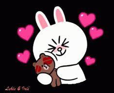 Cute Couple Cartoon, Cute Couple Art, Hug Love Gif, Calin Gif, Kiss Animated Gif, Cony Brown, Bunny And Bear, Cute Love Pictures, Bear Wallpaper