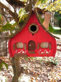 60s Adorable Red Cottage Birdhouse Handmade Hand Painted by curioscity