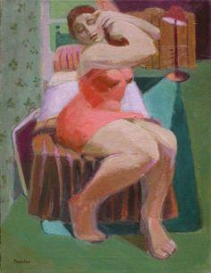 Art Portfolio, figurative paintings of women, female figuration, figure painting, contemporary figurative painter, woman doing hair, painting by artist Marie Fox