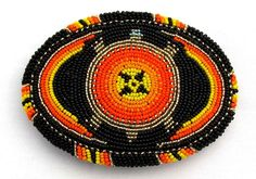 Large 5 inch Southwestern Native American Style Oval Beaded Buckle