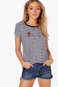 #boohoo Pineapple Badge Stripe T-Shirt - blue DZZ52107 #Lola Pineapple Badge Stripe T-Shirt - blue