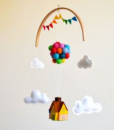 Up! house balloons Disney movie inspired baby mobile. Up Up and away baby crib mobile hot air balloon by WhatACurlyLife