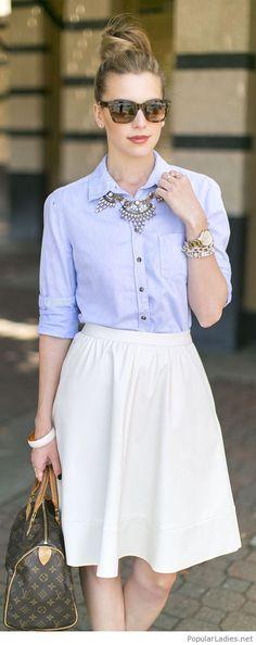 a-nude-midi-skirt-with-a-light-blue-shirt