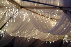 drapes with fairy lights