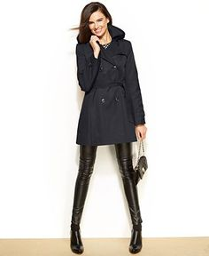 Gallery Two-Tone Belted Raincoat with Detachable Hood & Liner