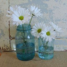 Antique blue jars as vases with perky daisies