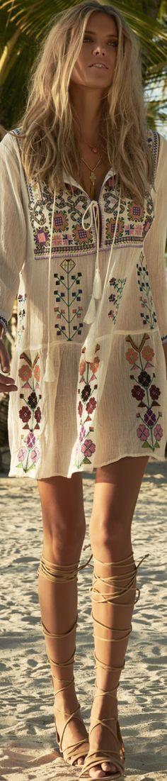 MELISSA ODABASH MILLIE EMBROIDERED BOHO SHORT DRESS Trendy Dresses, Nice Dresses, Short Dresses, Summer Dresses, Bohemian Style Clothing, Gypsy Style, Boho Style, Boho Chic, Unique Clothing