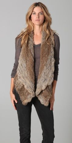 ONE by JuneKnitted Fur Shawl Vest $518.76 #RockStar