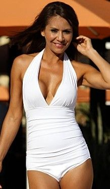 This white fully lined halter one-piece swimsuit has all over shirring that  slims you from front to back! Designed with low cut legs that gives you  full ... 74704359f