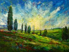 Trees in Tuscany by Maureen Greenwood Online Gallery, Landscape Art, Tuscany, Trees, Painting, Paintings, Draw, Home Decor Trees, Wood