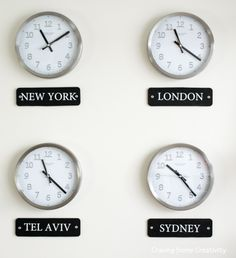 International Time Zone Clocks On Wall Time Zone Clocks