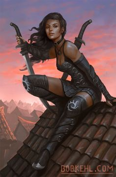 Assassins on the roof - Twilights End cover by BobKehl.deviantart.com on @DeviantArt - More at https://pinterest.com/supergirlsart #female #fantasy #art