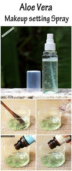 Method:Sanitize the spray bottles with some hot/lukewarm water.Take 1 part of pure aloe vera gel in a bowl and add 3 parts of water.Add in few drops of vitamin E oil.You can also add 2 drops of essential oil of your choice.Pour this mix into an empty spray bottle.Shake well and use it as your refreshing makeup setting spray.Spray it regularly for long lasting makeup finish.