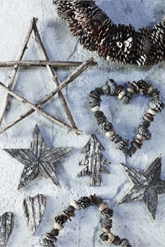 Rustic holiday creations: twigs, bark, small pinecones, etc.