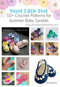 10+ Crochet Patterns for Sweet Little Feet, Summer Baby Sandals - a round-up by A Crocheted Simplicity